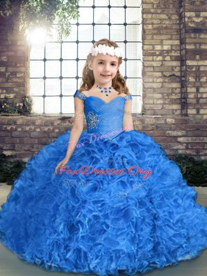Hot Sale Royal Blue Straps Neckline Beading and Ruching Child Pageant Dress Sleeveless Lace Up