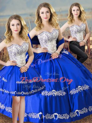 Eye-catching Beading and Embroidery Quinceanera Dresses Royal Blue Lace Up Sleeveless Floor Length