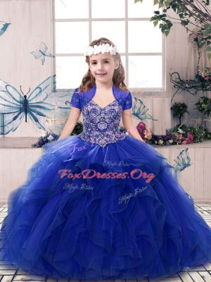 Royal Blue Ball Gowns Tulle Straps Sleeveless Beading and Ruffles Floor Length Lace Up Kids Formal Wear