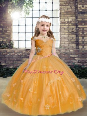 Cheap Sleeveless Beading and Hand Made Flower Lace Up Girls Pageant Dresses