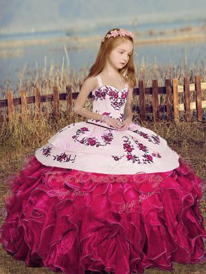 Hot Pink Sleeveless Organza Lace Up Kids Pageant Dress for Party and Sweet 16 and Wedding Party