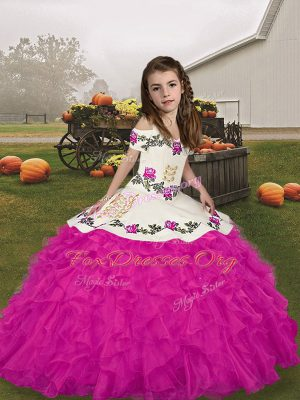 Ball Gowns Kids Pageant Dress Fuchsia Straps Organza Sleeveless Floor Length Lace Up