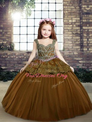 Hot Selling Brown Lace Up Pageant Dresses Beading and Appliques Sleeveless Floor Length