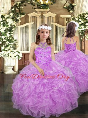Halter Top Sleeveless Kids Formal Wear Floor Length Beading and Ruffles Lilac Organza