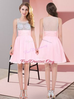 Admirable Mini Length Side Zipper Quinceanera Dama Dress Baby Pink for Wedding Party with Beading