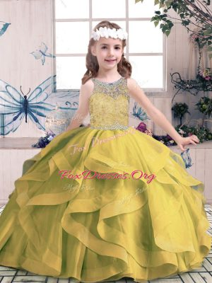 Stunning Ball Gowns Pageant Dress for Womens Olive Green Scoop Tulle Sleeveless Floor Length Lace Up