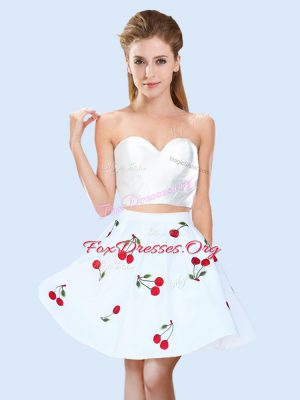 Adorable White Sweetheart Neckline Pattern Quinceanera Dama Dress Sleeveless Lace Up