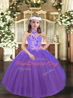Graceful Sleeveless Appliques Lace Up Kids Formal Wear