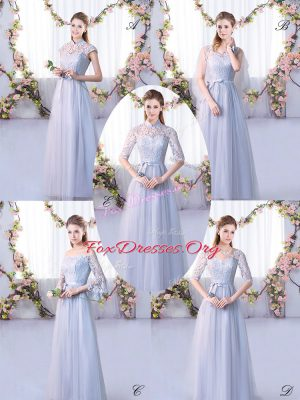 Grey Empire High-neck Cap Sleeves Tulle Floor Length Lace Up Lace Wedding Guest Dresses