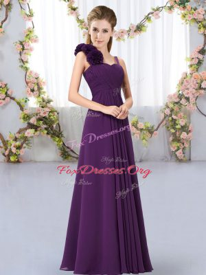 Dark Purple Chiffon Lace Up Straps Sleeveless Floor Length Bridesmaid Gown Hand Made Flower