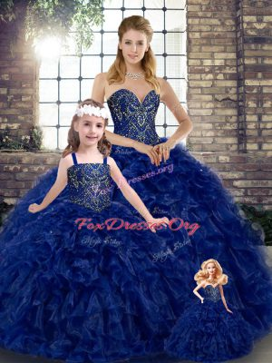 Royal Blue Ball Gowns Organza Sweetheart Sleeveless Beading and Ruffles Floor Length Lace Up Quince Ball Gowns