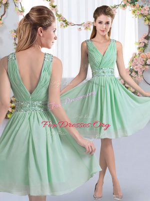 Custom Design Apple Green Zipper V-neck Beading Wedding Party Dress Chiffon Sleeveless