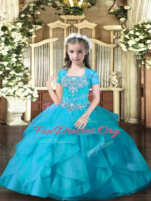 Straps Sleeveless Lace Up Custom Made Pageant Dress Aqua Blue Tulle