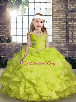 Spaghetti Straps Sleeveless Organza Custom Made Pageant Dress Beading and Ruffles and Ruching Lace Up