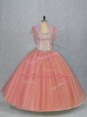Pretty Watermelon Red Ball Gowns Beading Quince Ball Gowns Lace Up Tulle Sleeveless Floor Length