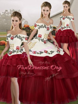Stylish Ball Gowns Sleeveless Wine Red Quinceanera Dress Brush Train Lace Up