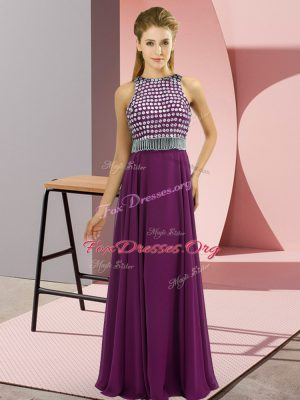 Eggplant Purple Homecoming Dress Beading Sleeveless Floor Length