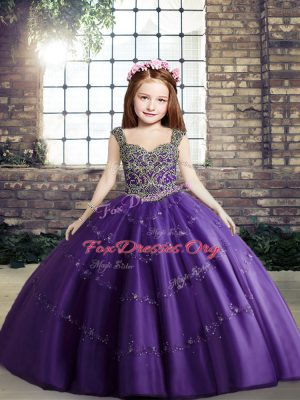 Perfect Purple Straps Neckline Beading Kids Formal Wear Sleeveless Lace Up