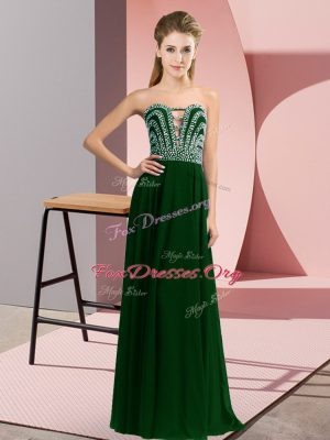 Luxurious Dark Green Sleeveless Chiffon Lace Up Dress for Prom for Prom and Party