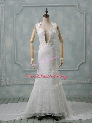 Admirable White Zipper Straps Lace Wedding Dresses Chiffon Sleeveless Court Train