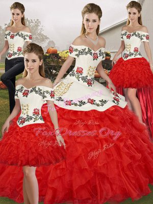 Noble Ball Gowns Quinceanera Dresses White And Red Off The Shoulder Organza Sleeveless Floor Length Lace Up