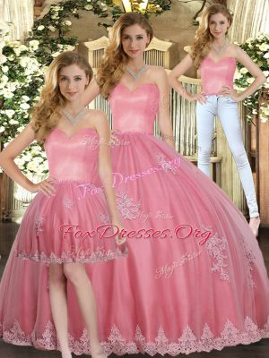 Elegant Watermelon Red Quinceanera Dresses Military Ball and Sweet 16 and Quinceanera with Appliques Sweetheart Sleeveless Lace Up