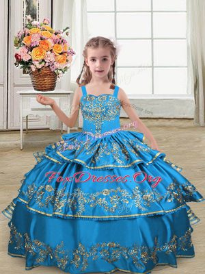 Blue Kids Formal Wear Wedding Party with Embroidery and Ruffled Layers Straps Sleeveless Lace Up
