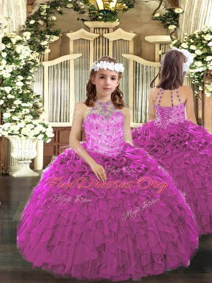 Fuchsia Sleeveless Beading and Ruffles Floor Length Kids Pageant Dress