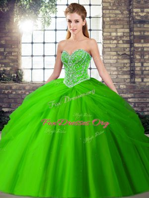 Green Quinceanera Dress Military Ball and Sweet 16 and Quinceanera with Beading and Pick Ups Sweetheart Sleeveless Brush Train Lace Up