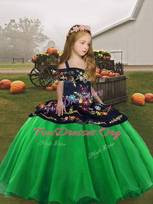 Custom Made Organza Straps Sleeveless Lace Up Embroidery Kids Pageant Dress in Green