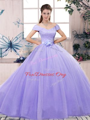 Elegant Lavender Short Sleeves Tulle Lace Up Vestidos de Quinceanera for Military Ball and Sweet 16 and Quinceanera