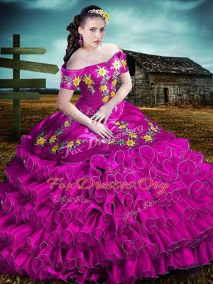 Unique Fuchsia Ball Gowns Off The Shoulder Sleeveless Organza Floor Length Lace Up Embroidery and Ruffles Quinceanera Gown