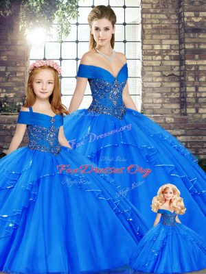 Inexpensive Royal Blue Tulle Lace Up Quince Ball Gowns Sleeveless Floor Length Beading and Ruffles