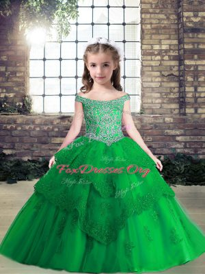 Beading and Lace and Appliques Little Girl Pageant Dress Green Lace Up Sleeveless Floor Length
