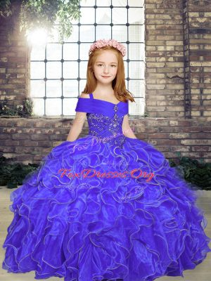 Trendy Purple Straps Lace Up Beading and Ruffles Kids Formal Wear Sleeveless
