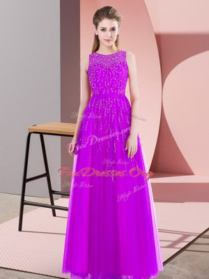 Dramatic Scoop Sleeveless Homecoming Dress Floor Length Beading Purple Tulle