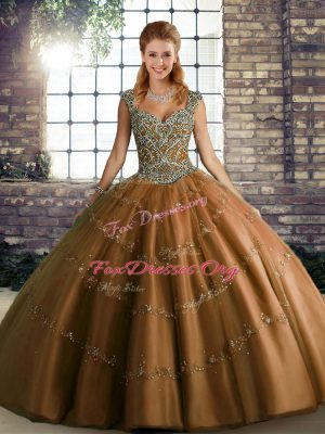Custom Designed Brown Sleeveless Floor Length Beading and Appliques Lace Up 15th Birthday Dress