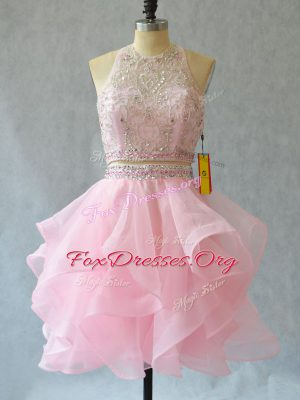 Admirable Two Pieces Cocktail Dresses Baby Pink Halter Top Tulle Sleeveless Mini Length Backless