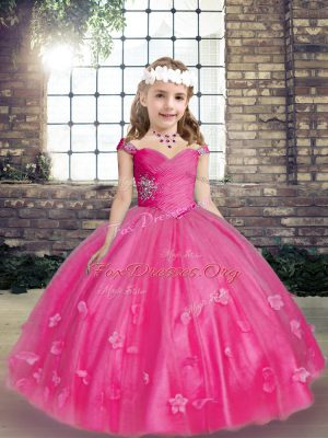 Straps Sleeveless Kids Formal Wear Floor Length Beading and Hand Made Flower Hot Pink Tulle