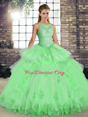 Decent Sleeveless Tulle Lace Up Quinceanera Gowns for Military Ball and Sweet 16 and Quinceanera