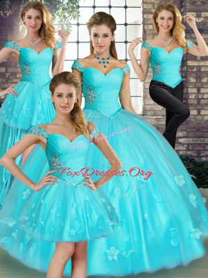 Deluxe Aqua Blue Off The Shoulder Lace Up Beading and Appliques Quinceanera Dresses Sleeveless