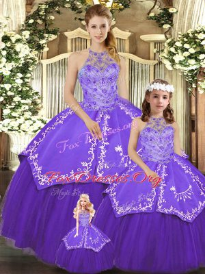 Chic Purple Lace Up Halter Top Beading and Embroidery Ball Gown Prom Dress Satin and Tulle Sleeveless