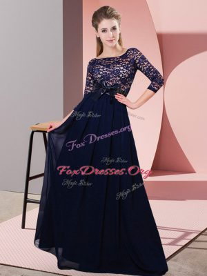 Designer Black Empire Scoop 3 4 Length Sleeve Chiffon Floor Length Side Zipper Lace and Belt Bridesmaid Gown