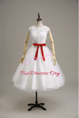 Fantastic Short Sleeves Lace and Belt Clasp Handle Wedding Dress