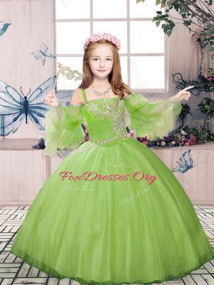 Floor Length Ball Gowns Long Sleeves Champagne Kids Pageant Dress Lace Up