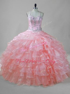 Unique Pink Sleeveless Beading and Ruffled Layers Floor Length 15 Quinceanera Dress