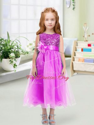 Elegant Sleeveless Zipper Tea Length Sequins and Hand Made Flower Flower Girl Dress