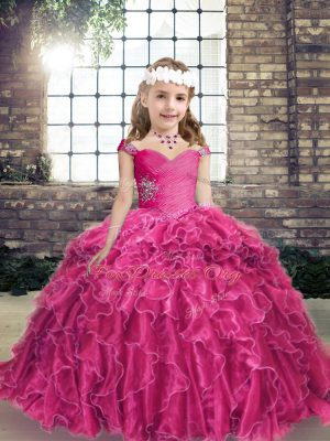 Unique Beading and Ruffles Kids Formal Wear Fuchsia Lace Up Sleeveless Floor Length