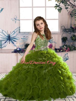 Custom Design Olive Green Scoop Lace Up Beading and Ruffles Little Girls Pageant Dress Sleeveless