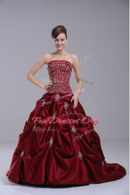 Fantastic Strapless Sleeveless Wedding Dress Brush Train Beading and Embroidery Wine Red Taffeta